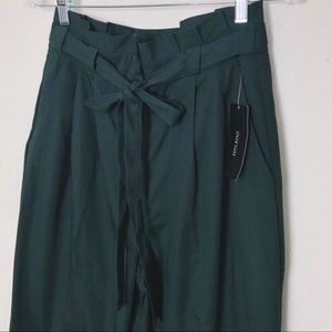Green Zara papaerbag waist pants
